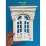 Decorated French double door handcrafted for 1:12 dollhouse miniature White-gold Amazing