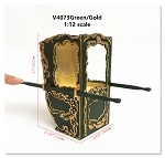 Handcrafted Italian Sedan Chair (Litter) 9th Century style for 1:12 dollhouse miniatures Green
