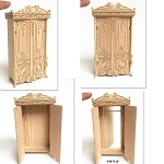 Elegant Victorian carved cupboard with a hidden escape door for 1:12 dollhouse miniature unfinished