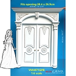 1:6 Scale Stunning craved Victorian White Double door  for Barbie size dollhouse miniature Handcrafted Limited Edition