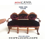 Victorian elegant 3-seat settee sofa love seat for 1:12 dollhouse miniature