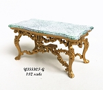 Exquisite carved coffee table Victorian Gold and marble for 1:12 dollhouse miniature