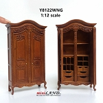 Victorian walnut Wardrobe closet wood Handmade Excellent quality  for 1:12 dollhouse miniature