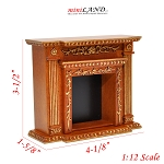 Fine Quality fireplace for Dollhouse miniature 1:12 walnut wood