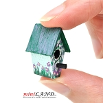 Floral Birdhouse for 1:12 dollhouse miniature Hand crafted