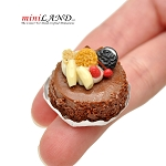 Fancy chocolate cake  for 1:12 dollhouse miniature Hand crafted