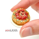Fruit tart with strawberries and kiwi for 1:12 dollhouse miniature