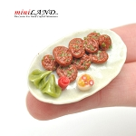 Meat patties on dinner platter for 1:12 dollhouse miniature