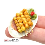 Skewered potatoes on dinner platter  for 1:12 dollhouse miniature