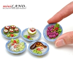 Assorted 5pcs dinner plates  for 1:12 dollhouse miniature
