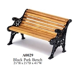 Outdoor Black Park Bench Garden   for 1:12 dollhouse miniature