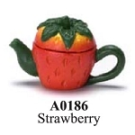 Strawberry Painted Teapot  dollhouse miniature 1:12 scale