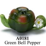 Green Bell Pepper Painted Teapot  dollhouse miniature 1:12 scale