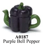 Purple Bell Pepper Painted Teapot  dollhouse miniature 1:12 scale