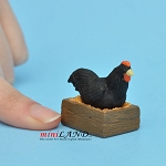 "Hen with Crate black 1""H x 1-1⁄4""L For dollhouse miniatures 1:12 scale"