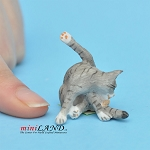 Cat grey 1 H/1  L/¾ W For dollhouse miniatures 1:12 scale