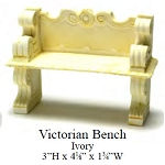 Outdoor Victorian Bench Ivory Garden   for 1:12 dollhouse miniature Poly resin