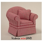Ashley Red Check Chair A102 for dollhouse miniature 1:12 scale