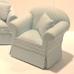 Ashley blue Chair A108 for dollhouse miniature 1:12 scale