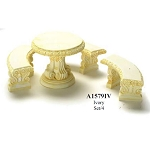 Outdoor Ivory stone Table with 3 Benches for 1:12 dollhouse miniature Polyresin