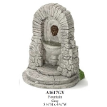 Outdoor grey stone Fountain for 1:12 dollhouse miniature Polyresin