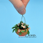 Hanging Pot Pink Pansy for dollhouse miniature 1:12 scale