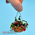 Hanging Pot Mixed Flowers for dollhouse miniature 1:12 scale