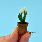 White Tulip in pot for dollhouse miniature 1:12 scale