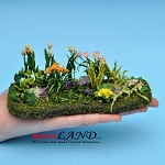Beautiful Flower Bed Hand crafted Lg for dollhouse miniature 1:12 scale