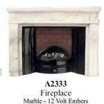 Victorian Elegant FIREPLACE Marble - 12 Volt Embers for 1:12 dollhouse miniature