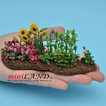 Beautiful Flower Bed Hand crafred Sm for dollhouse miniature 1:12 scale