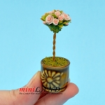 Rose Topiary Pink in pot  for dollhouse miniature 1:12 scale