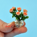 Rose Arrangement In Glass Vase Coral for dollhouse miniature 1:12 scale
