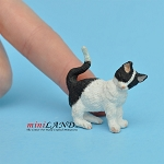 Cat Rubbing Left Black and White For dollhouse miniatures 1:12 scale