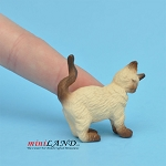 Cat Rubbing Left Siamese For dollhouse miniatures 1:12 scale