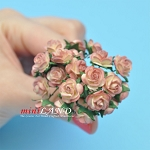 Two dozen ROSES Coral for dollhouse miniatures 1:12 scale