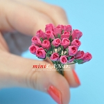 Two dozen Half Bloom Roses Hot Pink for dollhouse miniatures 1:12 scale