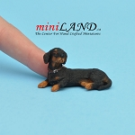 Laying Black Dachshund dog for Dollhouse miniature 1:12 scale
