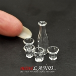 Water Bottle With 4 Glasses glass  dollhouse miniature 1:12
