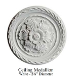 "Ceiling Medallion White - 2¾"" Diameter resin for 1:12 dollhouse miniature A3687"