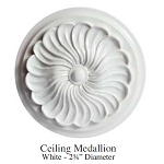 "Ceiling Medallion White - 2¾"" Diameter resin for 1:12 dollhouse miniature A3688"