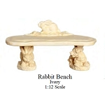 Outdoor Rabbit Bench Ivory Garden   for 1:12 dollhouse miniature Poly resin