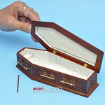 Walnut Coffin wood top Dollhouse miniature 1:12 scale fit Heidi Ott dolls funeral