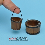 2 Wooden Kegs for dollhouse miniaturie 1:12 scale bucket