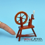Old wooden sewing spinning wheel  dollhouse miniature
