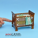 Modern wooden crib baby bed with  matching blanket dollhouse miniature 1:12 scale