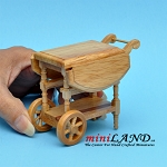 Wooden trolly tea cart with pop-up sides dollhouse miniature 1:12