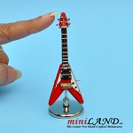 Red triangular flying-V star electric guitar with stand and case dollhouse miniature 1:12