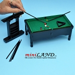 Wooden Billiards pool table with pool cues set dollhouse miniature 1:12 BK