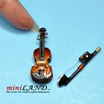 Wooden violin with bow and case for adult dollhouse miniature 1:12